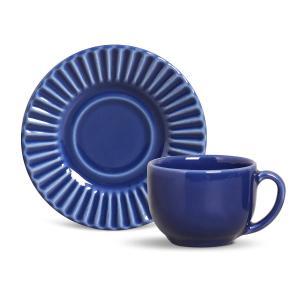 Conjunto com 6 Xícaras de Chá com 6 Pires Plissé Azul Navy 161 ml