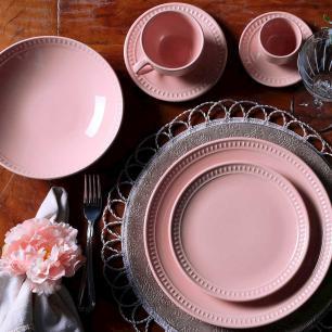 Conjunto com 6 Pratos Fundo Sevilha Rosa 21 cm