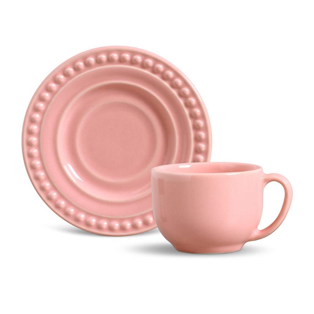 Conjunto com 6 Xícaras de Chá com 6 Pires Atenas Rosa 161 ml