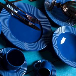 Conjunto com 6 Pratos Fundo Argos Azul Navy 22cm