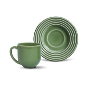 Conjunto com 6 Xícaras de Café com Pires Argos Verde Sálvia 72 ml