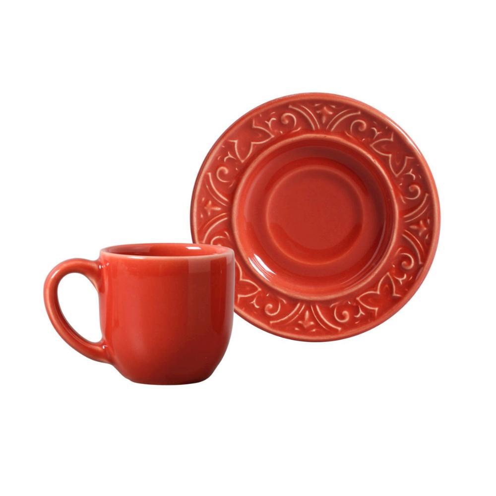 Conjunto com 6 Xícaras de Café com Pires Porto Vermelho 72 ml