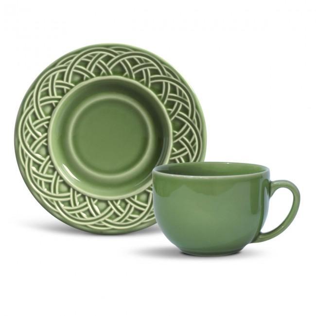 Conjunto com 6 Xícaras de Chá com 6 Pires Cestino Verde Sálvia 161 ml