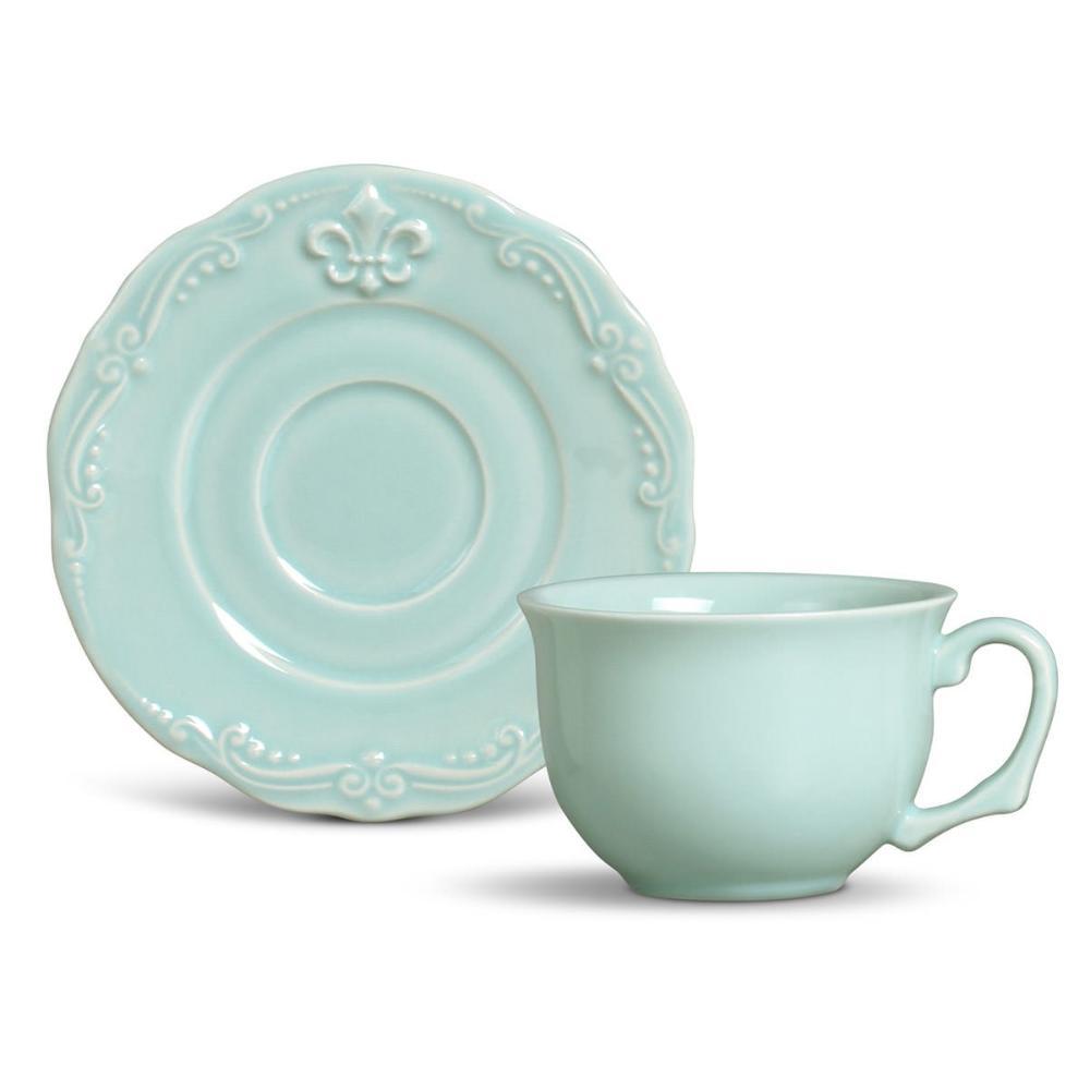 Conjunto com 6 Xícaras de Chá com 6 Pires Flor de Lis Verde 278 ml
