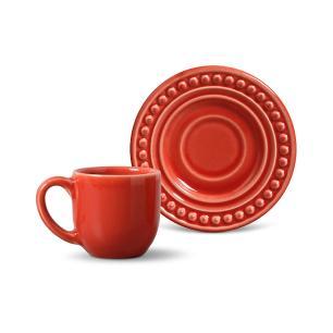 Conjunto com 6 Xícaras de Café com Pires Atenas Vermelho 72 ml