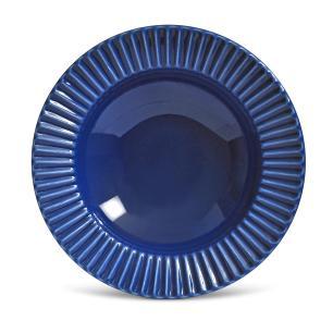 Conjunto com 6 Pratos Fundo Plissé Azul Navy 22cm