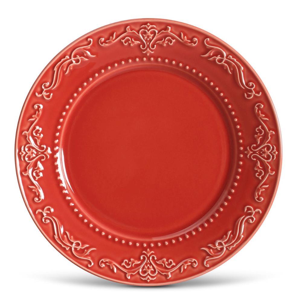 Conjunto com 6 Pratos Raso Acanthus Vermelho 26cm
