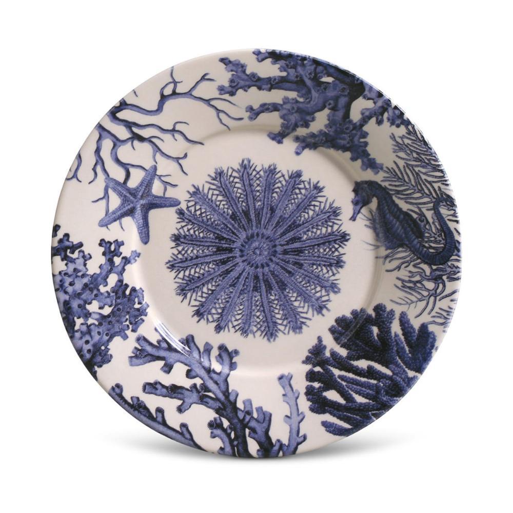 Conjunto com 6 Pratos de Sobremesa Mônaco Coral Blue 20,5 cm