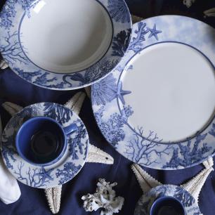 CONJUNTO C/ 6 PRATOS FUNDO MÔNACO CORAL BLUE Ø  22 cm