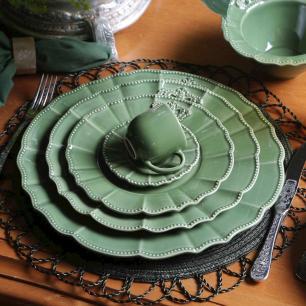 Conjunto com 6 Pratos Raso Windsor Verde Sálvia 27cm