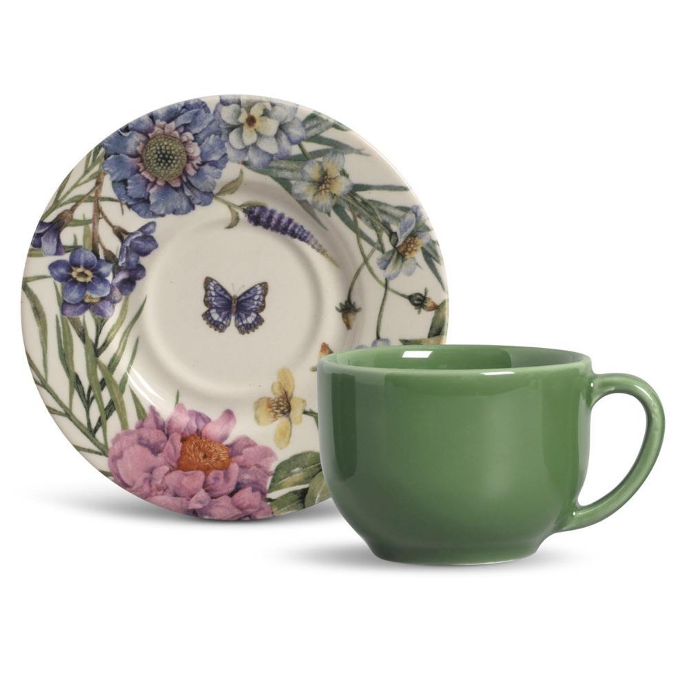 Conjunto com 6 Xícaras de Chá com 6 Pires Mônaco Garland 161 ml
