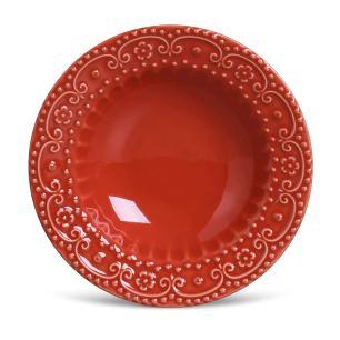 Conjunto com 6 Pratos Fundo Esparta Vermelho 22cm
