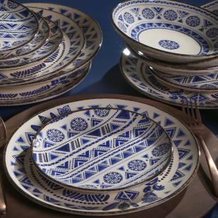 CONJUNTO C/ 6 PRATOS DE SOBREMESA COUP NAVAJO BLUE Ø 20,5cm