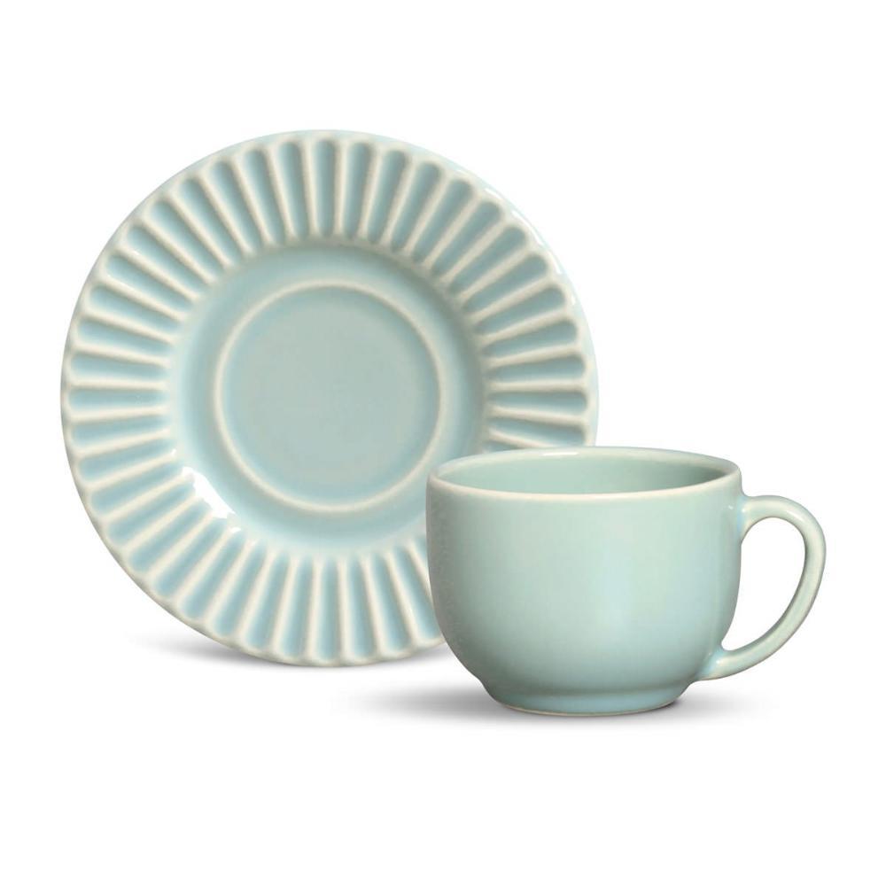 Conjunto com 6 Xícaras de Chá com 6 Pires Plissé Verde 161 ml