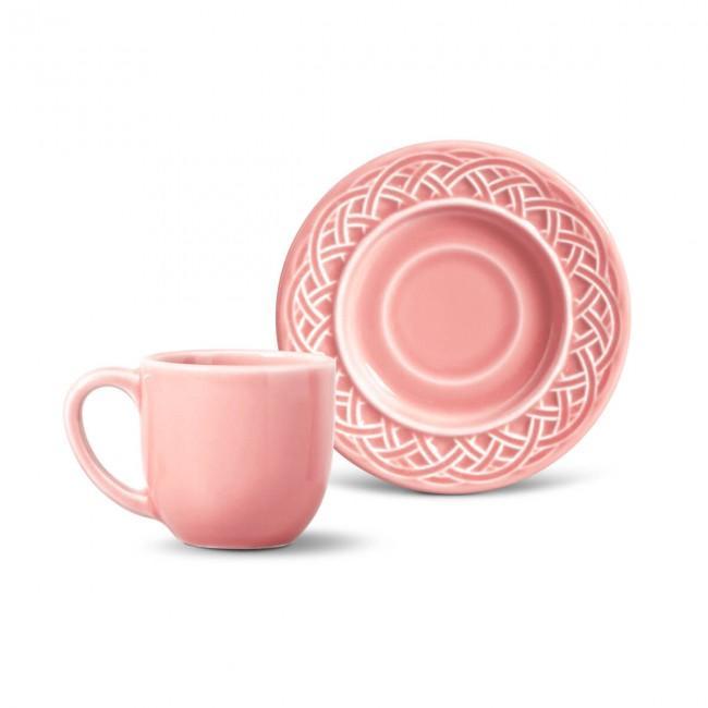 Conjunto com 6 Xícaras de Café com Pires Cestino Rosa 72 ml