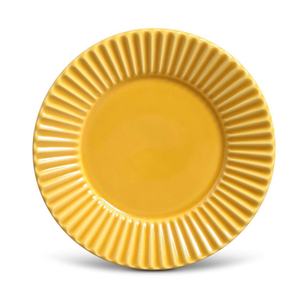 Conjunto com 6 Pratos de Sobremesa Plissé Mostarda 20,5 cm