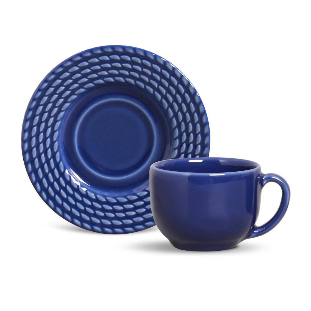Conjunto com 6 Xícaras de Chá com 6 Pires Olímpia Azul Navy 161 ml
