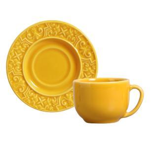 Conjunto com 6 Xícaras de Chá com 6 Pires Porto Mostarda 161 ml