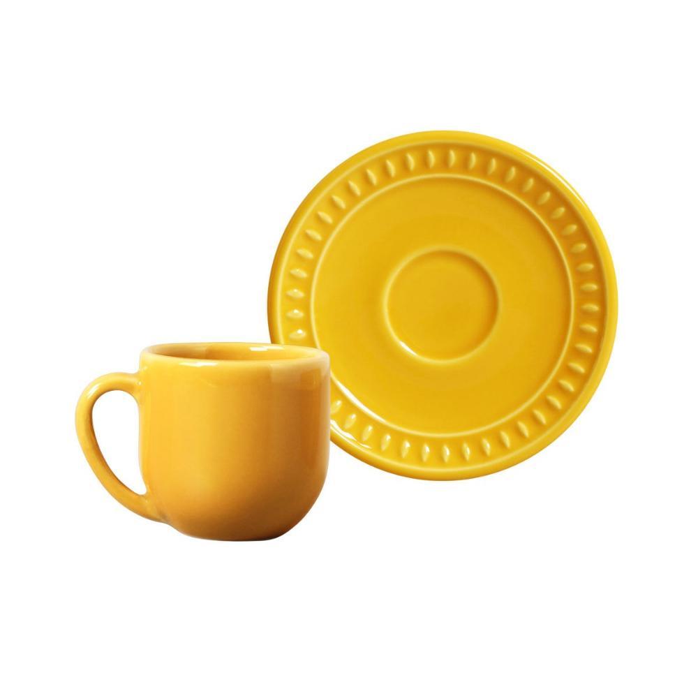 Conjunto com 6 Xícaras de Café com Pires Sevilha Mostarda 112 ml