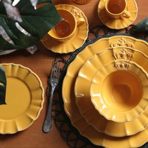 CONJUNTO C/ 6 XÍCARAS DE CHÁ C/ 6 PIRES WINDSOR MOSTARDA 260 ml
