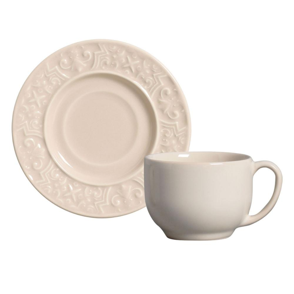 Conjunto com 6 Xícaras de Chá com 6 Pires Porto Cru 161 ml