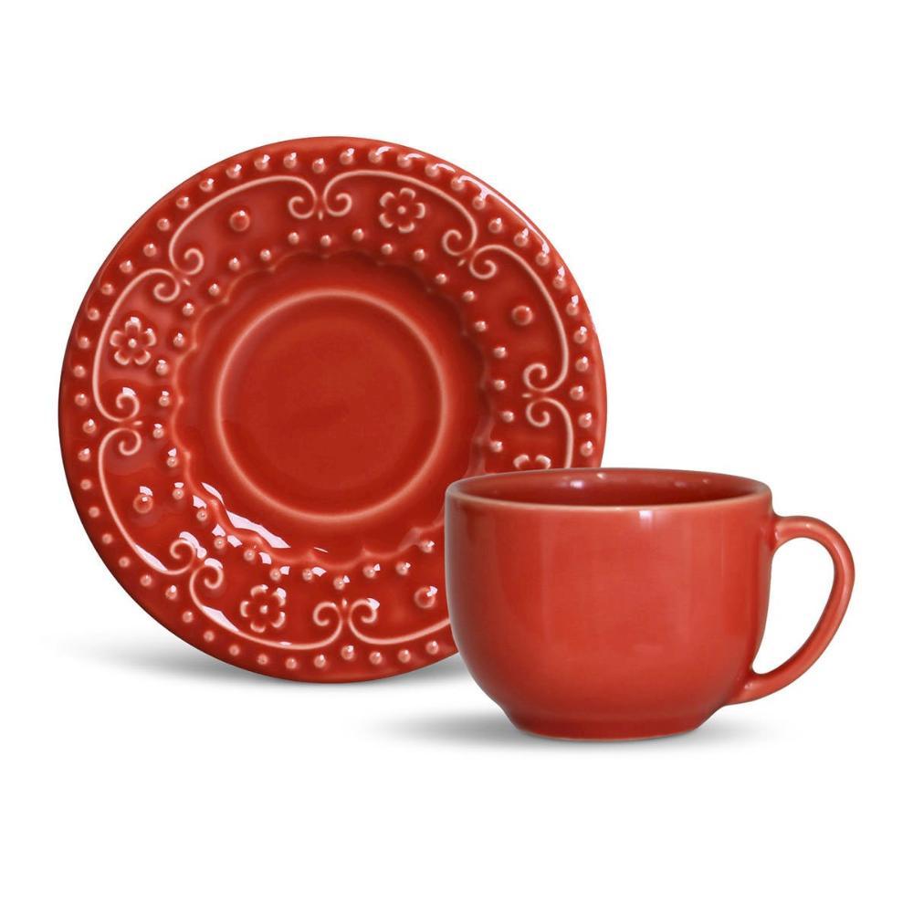 Conjunto com 6 Xícaras de Chá com 6 Pires Esparta Vermelho 161 ml