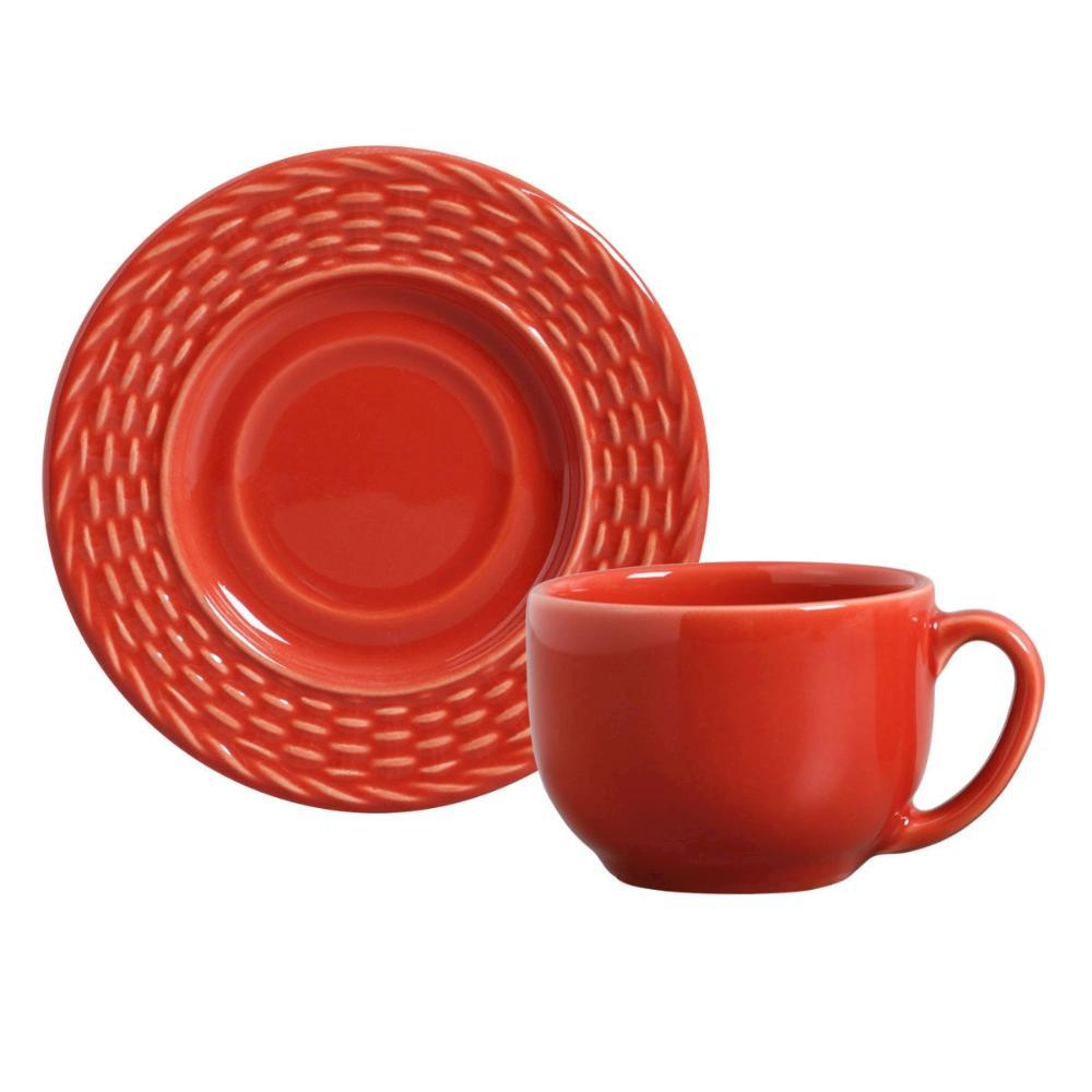 Conjunto com 6 Xícaras de Chá com 6 Pires Bali Vermelho 161 ml