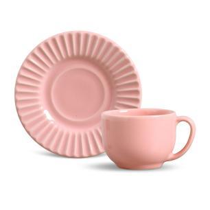 Conjunto com 6 Xícaras de Chá com 6 Pires Plissé Rosa 161 ml