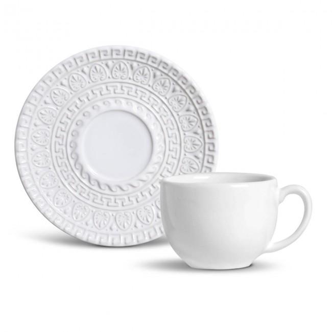 Conjunto com 6 Xícaras de Chá com 6 Pires Greek Branco 260 ml