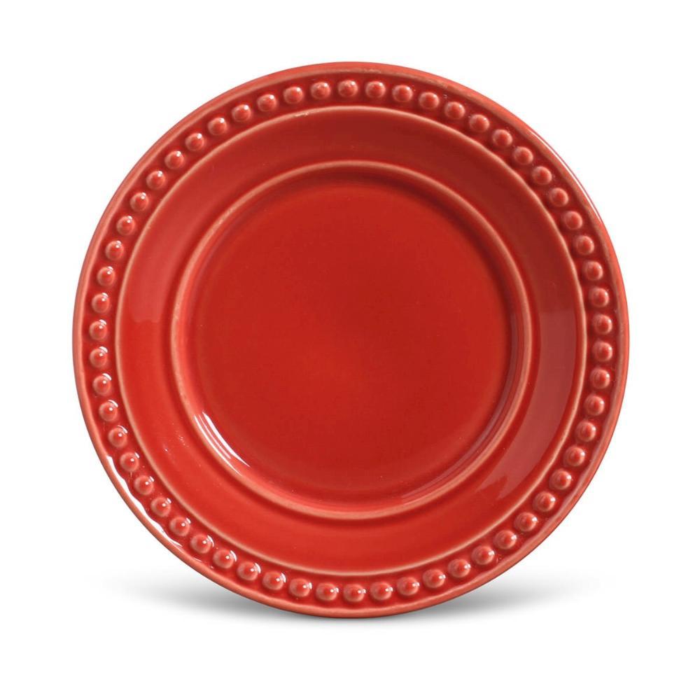 Conjunto com 6 Pratos de Sobremesa Atenas Vermelho 20,5 cm