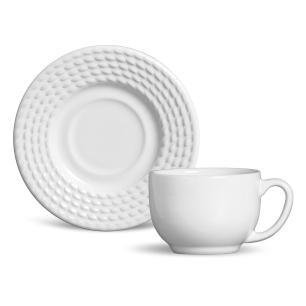 Conjunto com 6 Xícaras de Chá com 6 Pires Olímpia Branco 161 ml