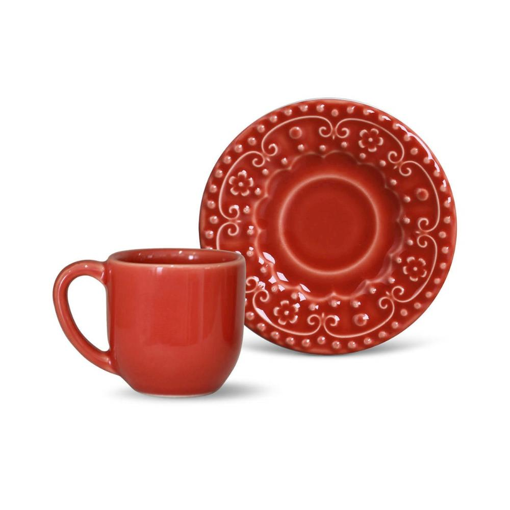 Conjunto com 6 Xícaras de Café com Pires Esparta Vermelho 72 ml