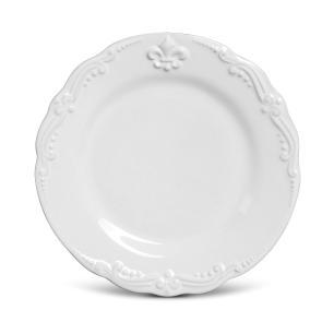 Conjunto com 6 Pratos de Sobremesa Flor de Lis Branco 20,5 cm