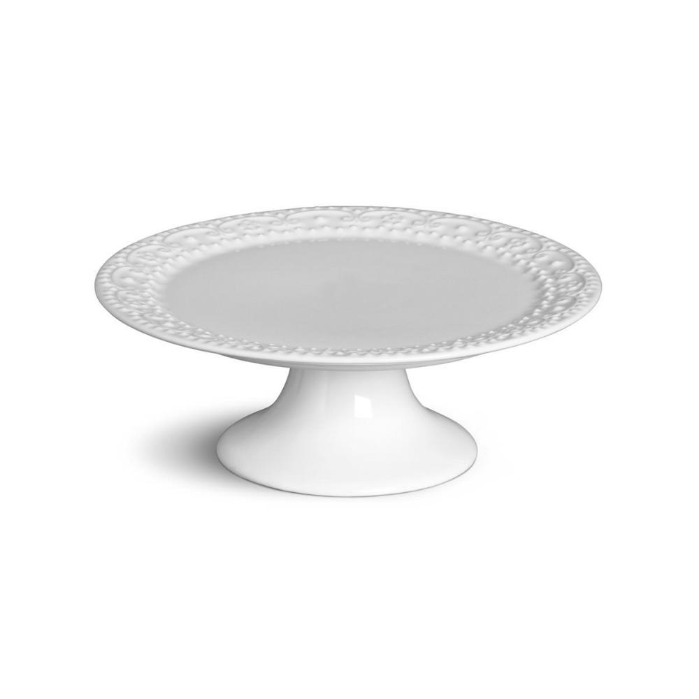 Prato de Bolo Esparta Médio Branco 27 cm