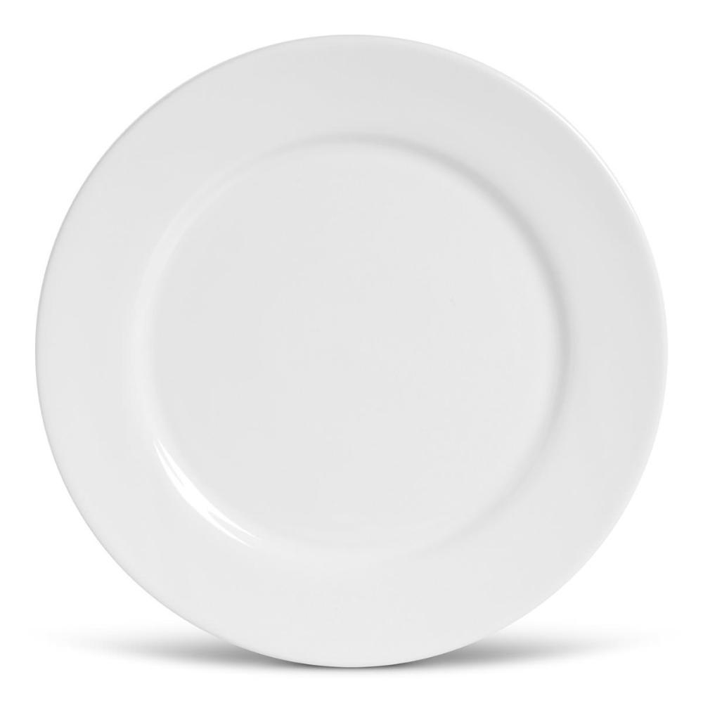 Conjunto com 6 Pratos Raso Flat Branco 27cm