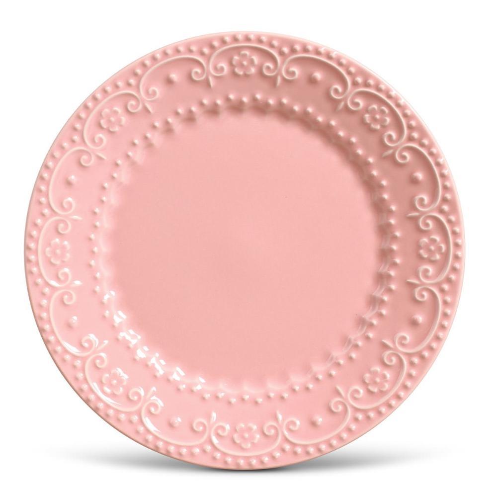 Conjunto com 6 Pratos Raso Esparta Rosa 26cm
