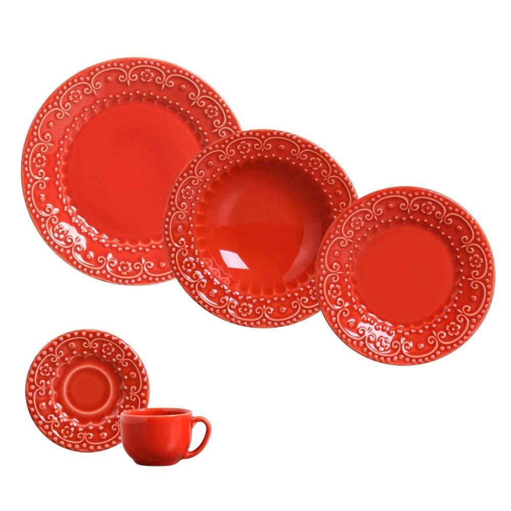 Aparelho de Jantar 30 Peças Esparta Vermelho