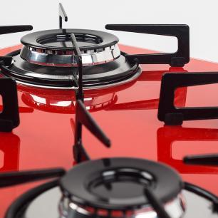Cooktop 4 Bocas Askoi Vermelho a Gás GLP Superautomático