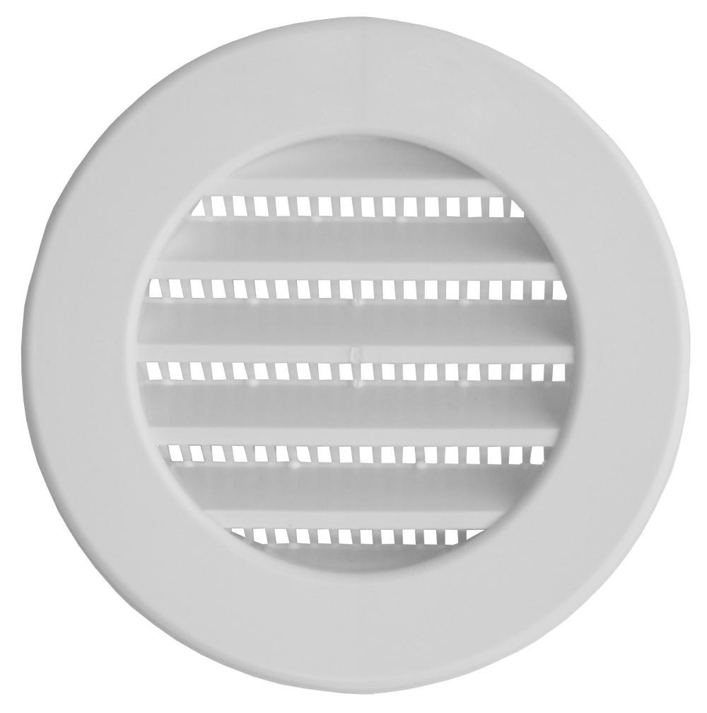 Grade De Ventilação Plástica 100mm Branca Com Tela