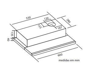 Depurador De Embutir Slim 60cm Safanelli Retrátil