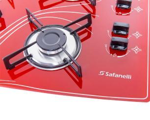 Cooktop 4 Bocas Safanelli Vermelho a Gás GLP Superautomático