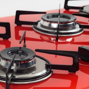 Cooktop 5 Bocas Askoi Vermelho a Gás GLP Superautomático