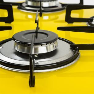 Cooktop 4 Bocas Askoi Amarelo a Gás GLP Superautomático