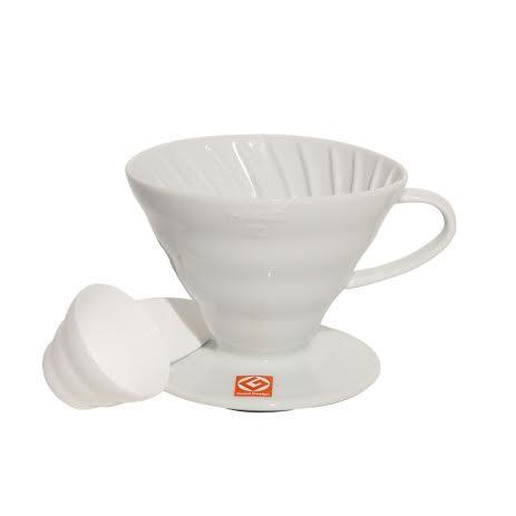 Passador De Café Mod V60-02 De Cerâmica Branca Hario - Hr-Vdc02W