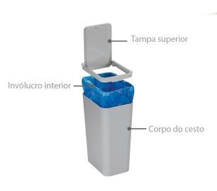 Lixeira 15,6 Cm Cinza Basic Kitchen