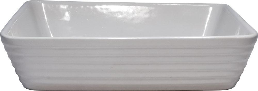 Refratário Retangular Cerâmico 35X24X6Cm Branco Meridional