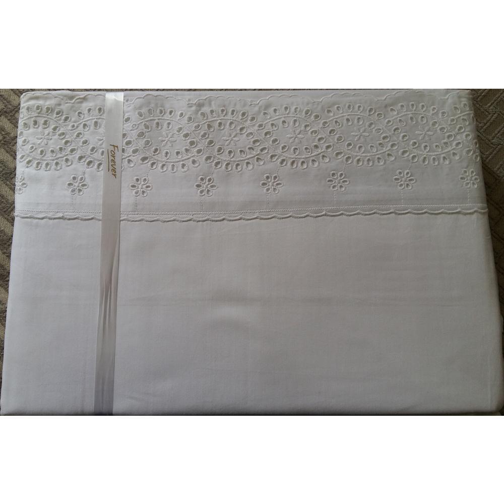 Jogo De Lençol Queen Lese 250 Fios Desenho 10 Branco