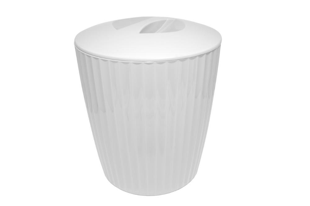 Cesto de Lixo Groove Branco Fechado ou