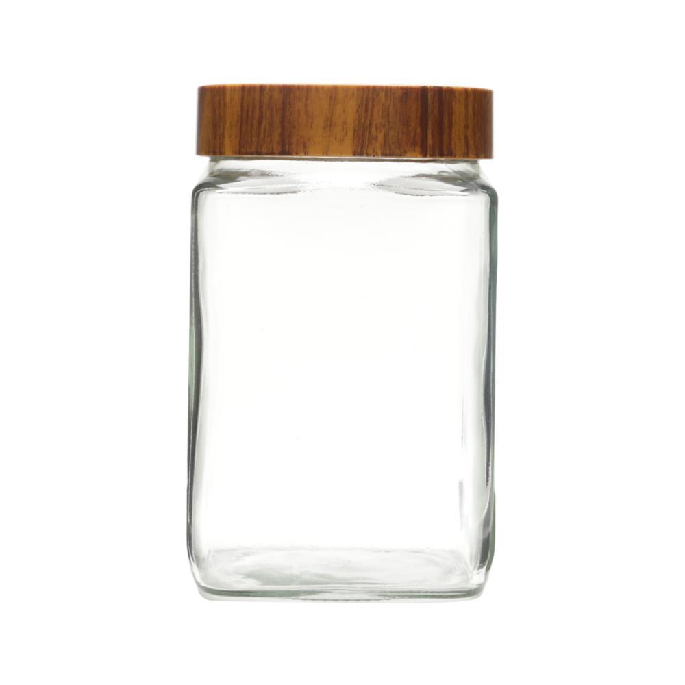 Pote de Vidro Wood Transpara Marrom 1,5l Lyor