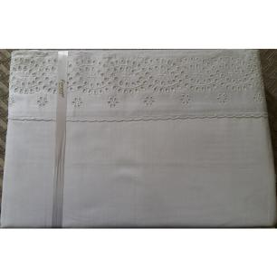 Jogo De Lençol Lese Solteiro 250 Fios Desenho 10 Branco